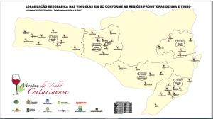 mapa 5 regiões produtoras vinho sc